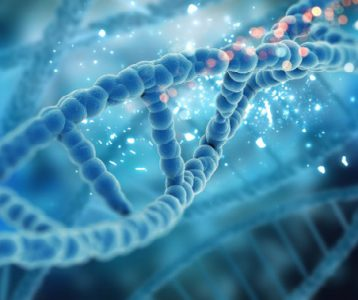 a blue strand of DNA floating with light specks
