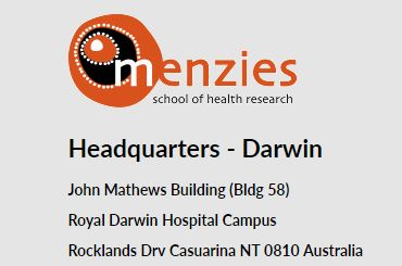 Menzies School of Health Research contact details image
