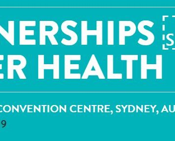 white words on an aqua background. words say - partnerships for better health - international convention centre, sydney, australia - 29 - 30 august, 2019