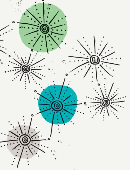 stylised black star bursts on a white background with a green circle and an aqua circle