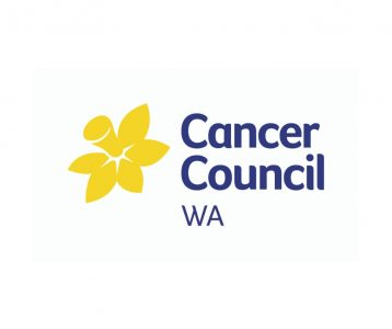 Navy blue words Cancer Council WA on a white background with a bright yellow daffodil to the left