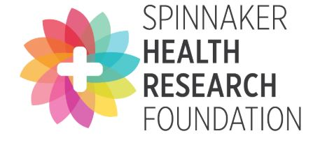 The words Spinnaker Health Research Foundation on a white background with a stylised flower to the left which has a cross in the middle