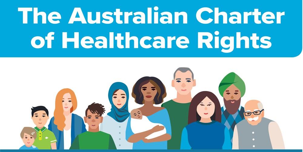 graphic of a multicultural group of people standing under a banner reading the australian charter of healthcare rights