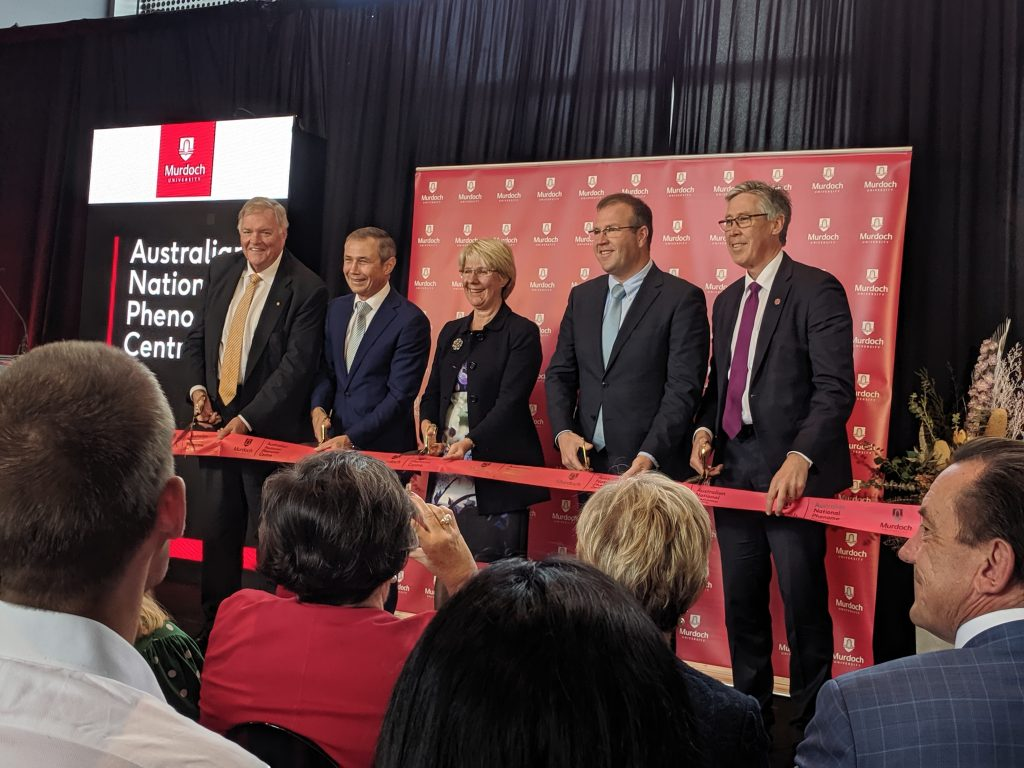 Australian National Phenome Centre Official Opening with Governor General Hon Kim Beazley, Deputy Premier and Minister for Health Hon Roger Cook, Murdoch University Vice Chancellor Eeva Leinonen, Assistant Minister to the Prime Minister and Cabinet Hon Ben Morton, and Murdoch University Chancellor Gary Smith cutting the red ribbon to open the Centre