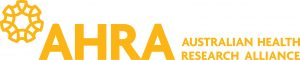 Australian Health Research Alliance (AHRA) long yellow logo