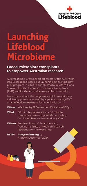 flyer for the launching lifeblood microbiome event